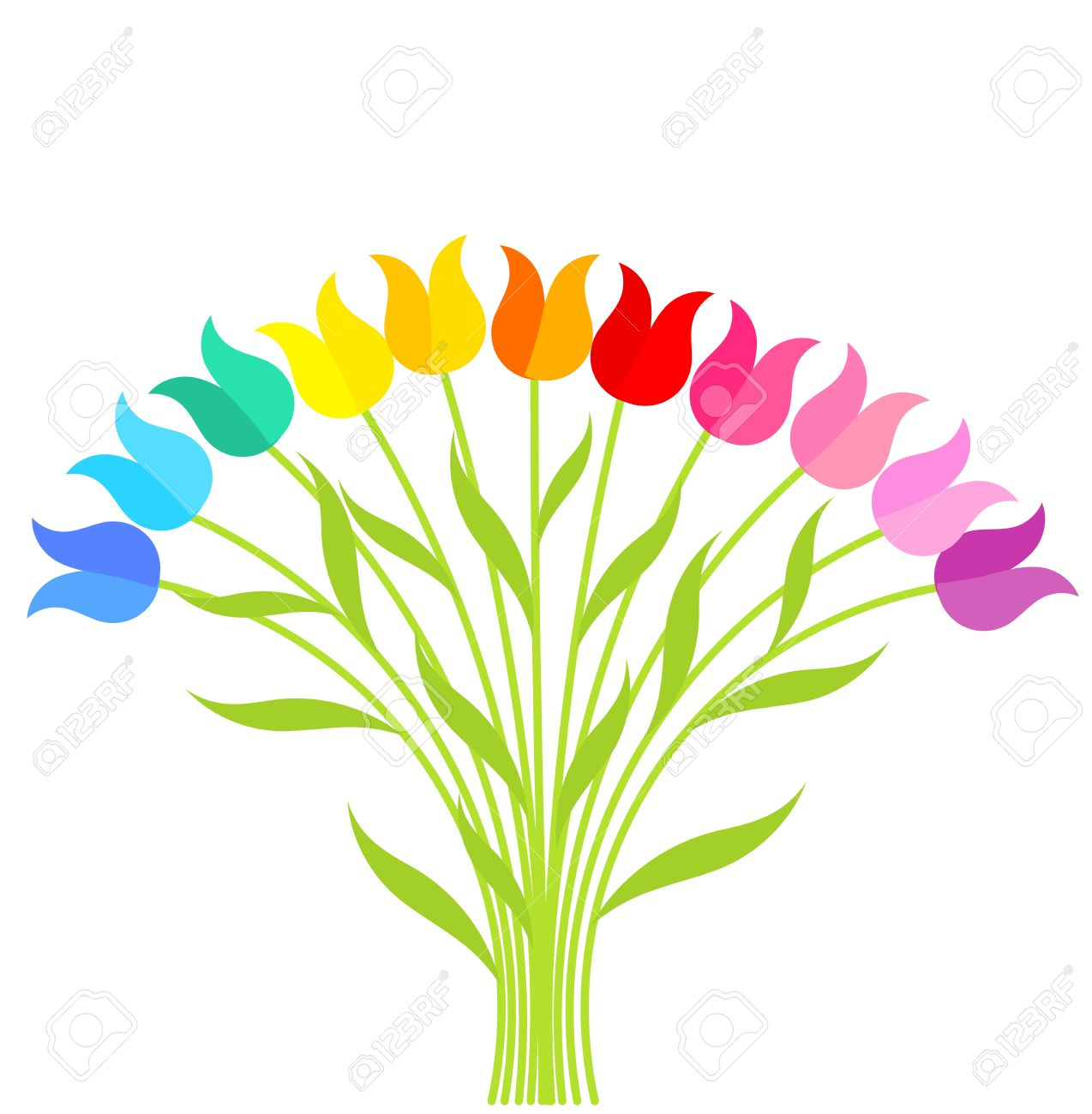 Bouquet Of Multicolor Tulip Flowers. Vector Illustration Royalty ... picture freeuse download