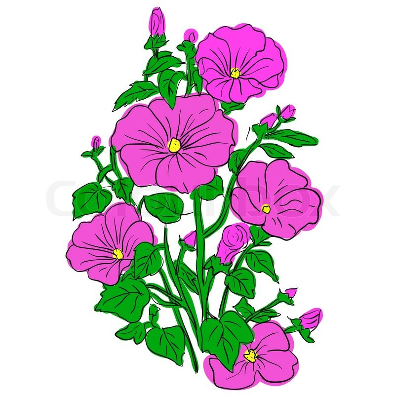 Beautiful cartoon flowers - ClipartFest vector royalty free stock