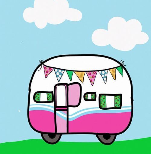 Cartoon caravan clipart image free Cute cartoon caravan | Vintage Trailers | Caravan, Caravan pictures ... image free