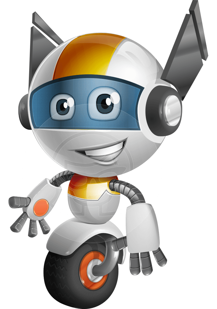 Cartoon character with basketball clipart png black and white download Vector One Wheel Robot Cartoon Character - OWAF | GraphicMama ... png black and white download