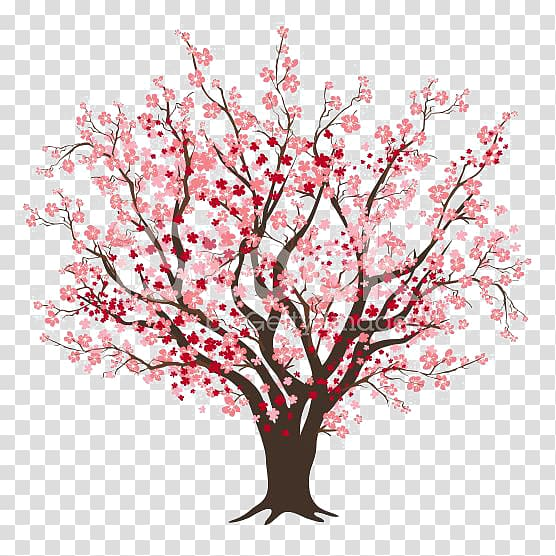 Cartoon cherry blossom clipart jpg transparent stock Pink leaf tree illustration, Cherry blossom Tree , Cartoon cherry ... jpg transparent stock
