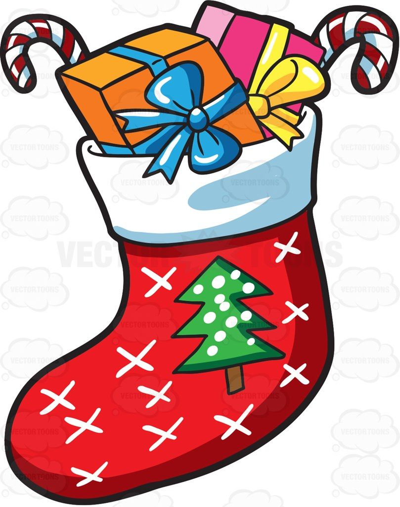 Cartoon christmas pictures clipart picture transparent library A Christmas sock with presents #cartoon #clipart #vector ... picture transparent library