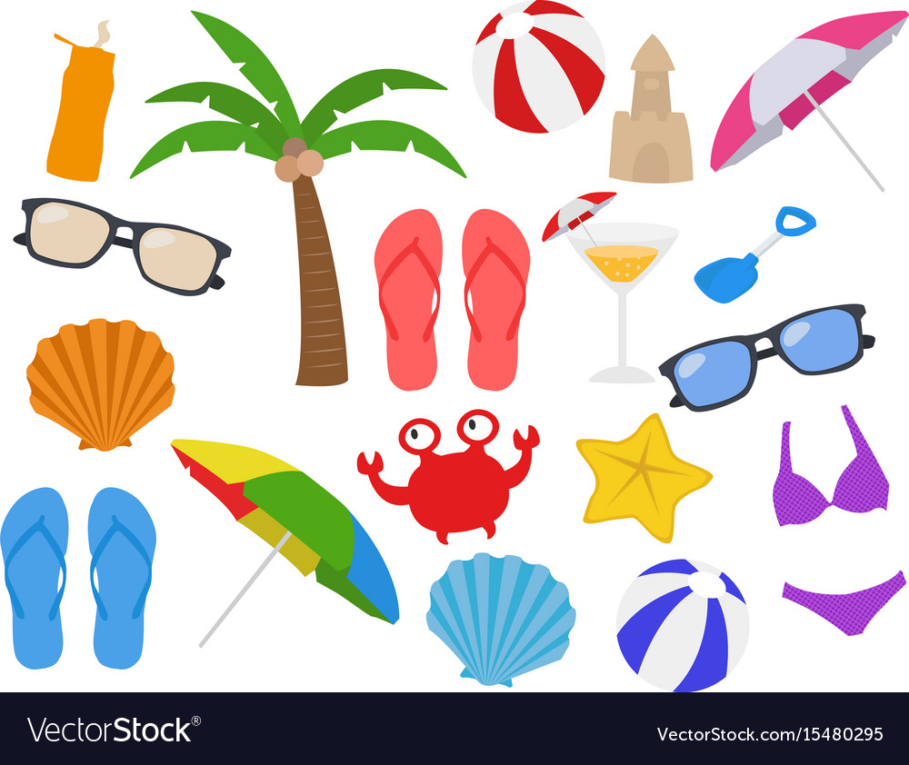 Beach equipments cartoon clipart clipart royalty free