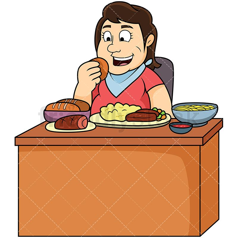 Fat Woman Eating Lots Of Food | Overweight People Clipart | Food ... royalty free library