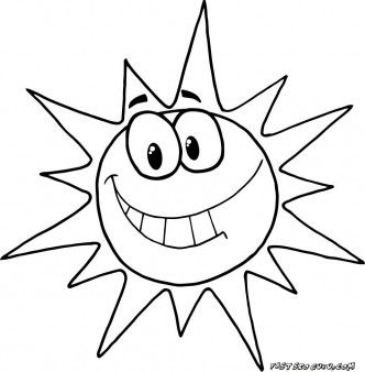 Printable cartoon character smiling sun coloring pages - Printable ... graphic black and white library