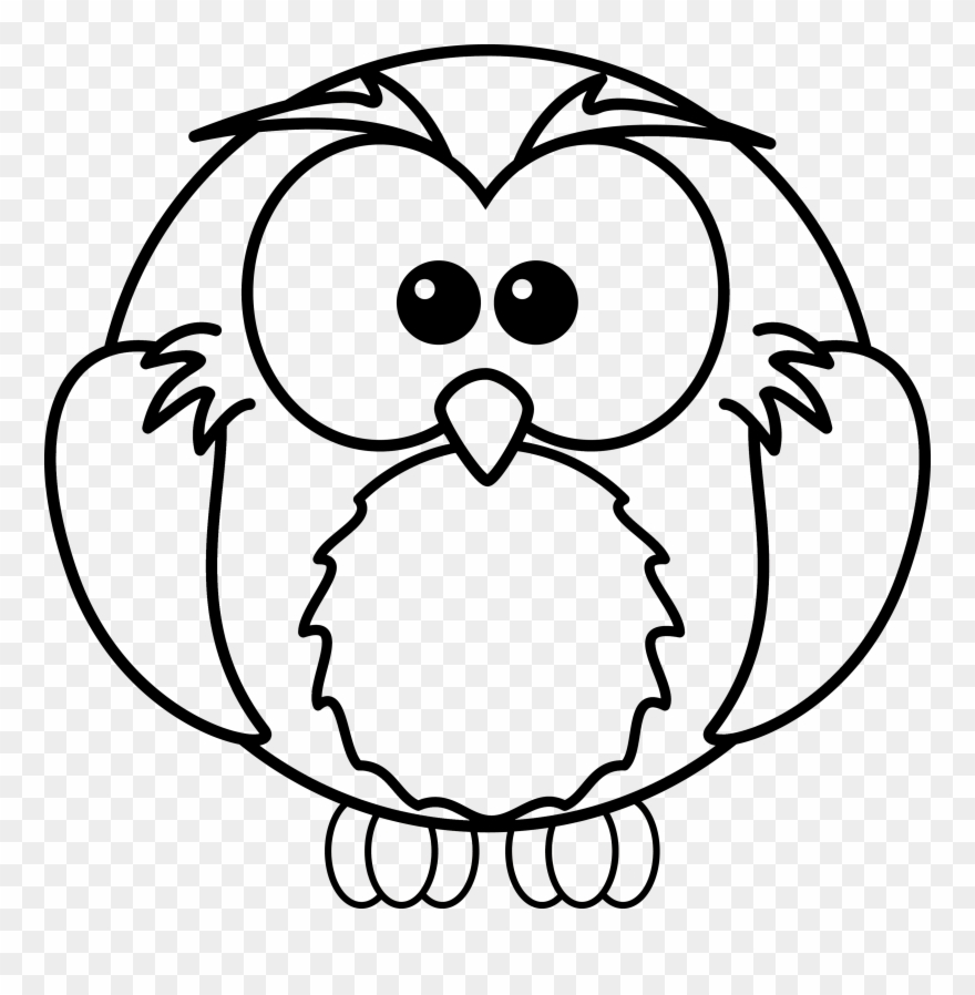 Free Cartoon Owl Coloring Page Clipart - Colouring Pages Of Owl ... svg transparent stock