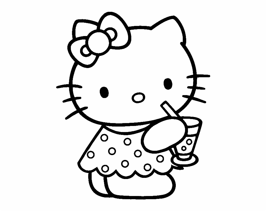Cartoon clipart coloring vector transparent stock Hello Kitty Coloring Pages - Colouring Pages Of Cartoon Characters ... vector transparent stock