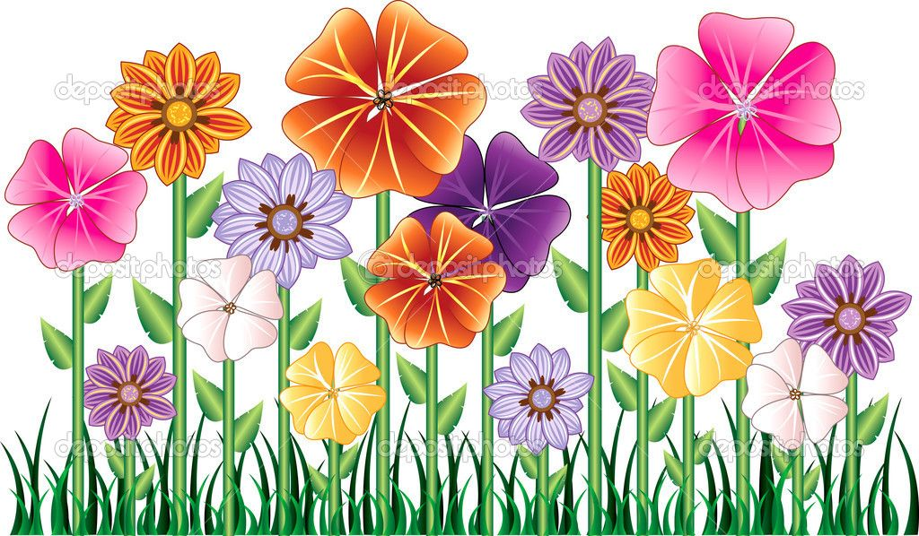 Cartoon clipart flowers png free stock Cartoon Flowers Clip Art | Flower Garden | Stock Vector © Basheera ... png free stock