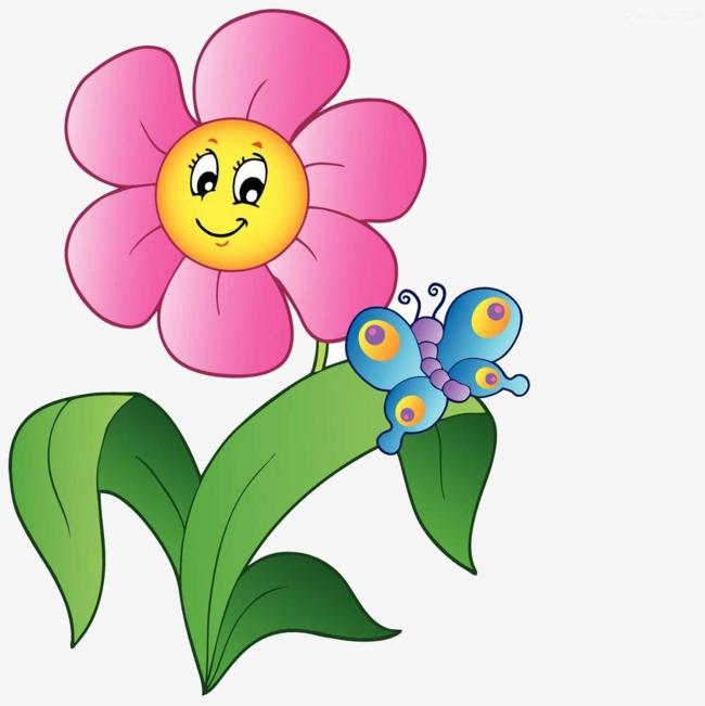 Cartoon clipart flowers jpg transparent download Clipart Flowers With Butterfly Cartoon Flower Butterfly Material ... jpg transparent download