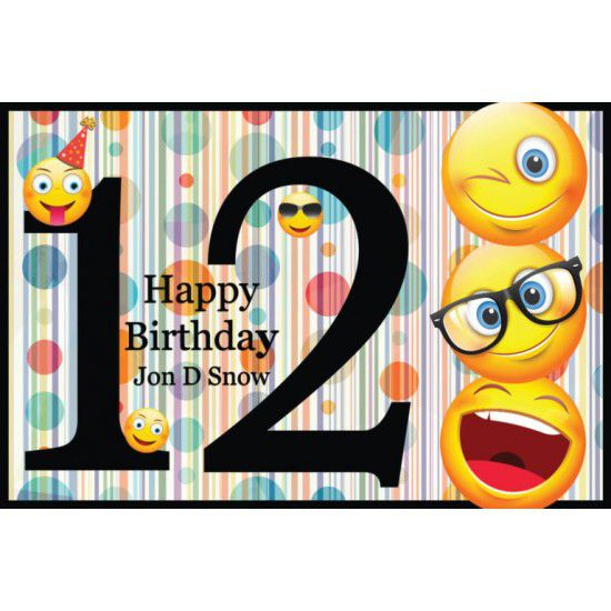 Cartoon clipart for 12 year old birthdays svg black and white download Custom Large Emoji Banner for Girls or Boys Emoji Birthday Party Poster for  12 yr svg black and white download