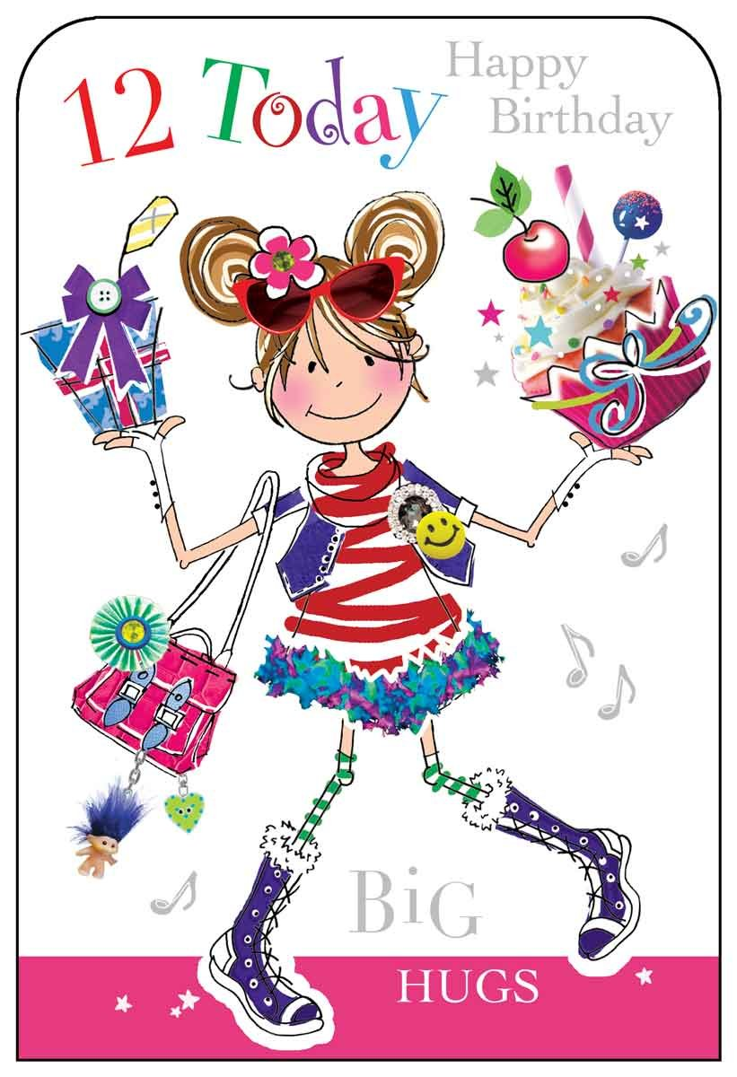 Cartoon clipart for 12 year old birthdays png free stock Rachel Ellen Girl Age 12 Birthday Card: Amazon.co.uk: Electronics png free stock