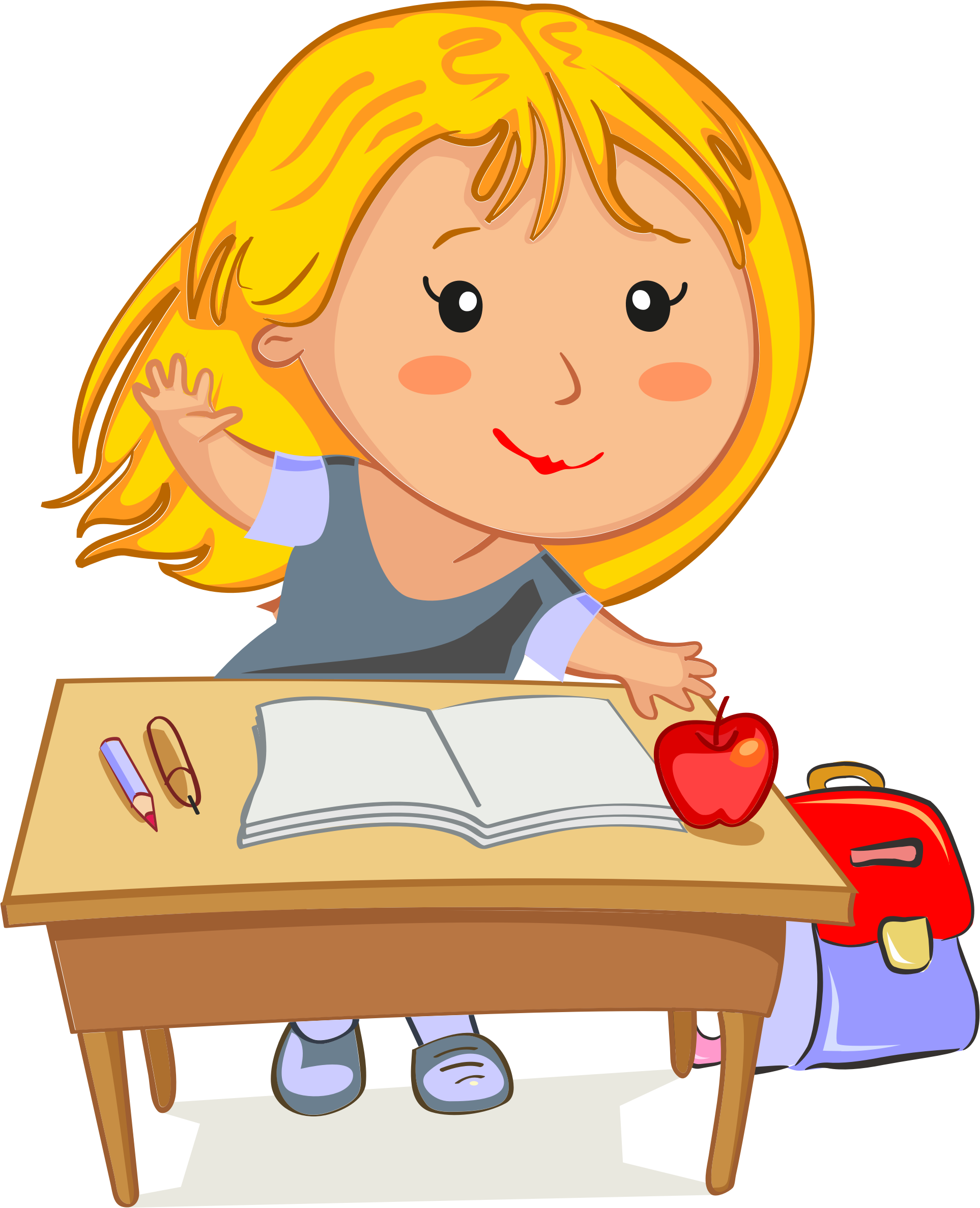 Clipart girl going to school free stock Clipart - Blonde Girl Raising Her Hand Sitting At Her Desk In School free stock