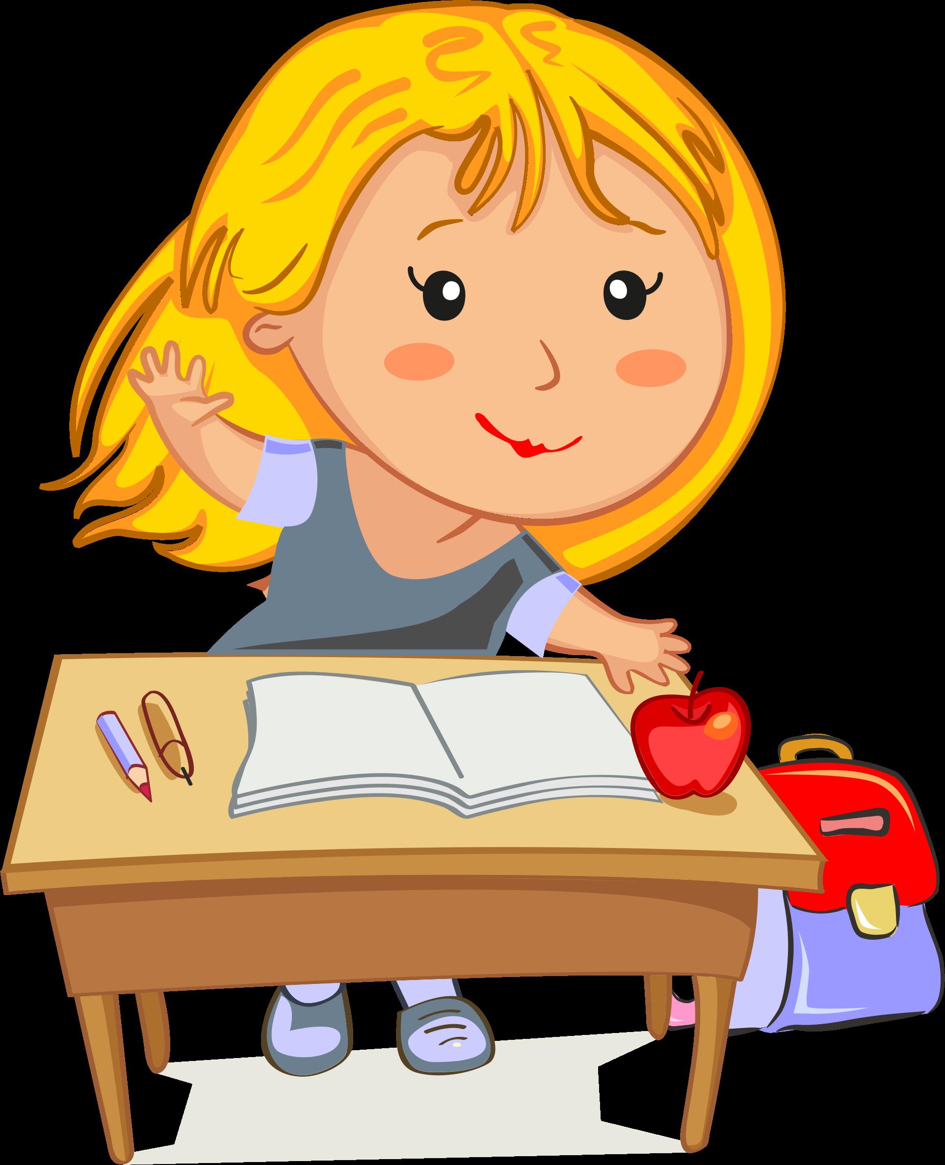 Girl at school clipart vector transparent stock Clipart - Blonde Girl Raising Her Hand Sitting At Her Desk In School vector transparent stock