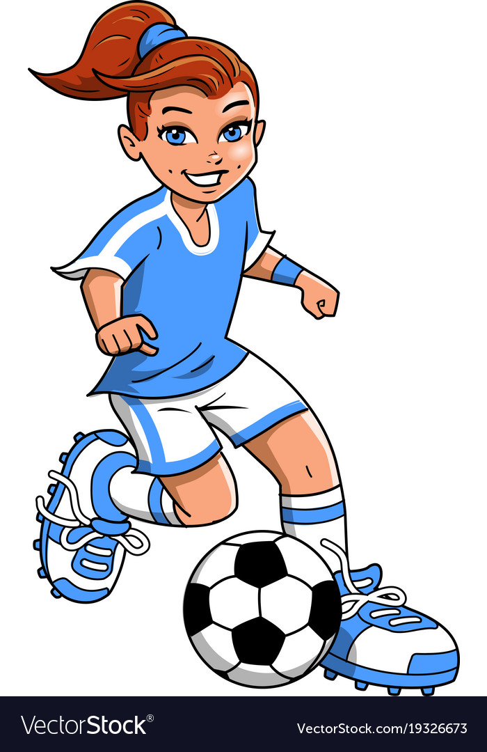 Cartoon clipart girl vector stock Soccer football girl player clipart cartoon vector stock
