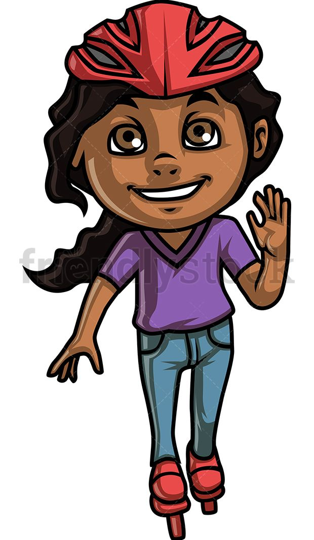 African-American Girl Roller Skating | Kids Clipart in 2019 ... banner royalty free stock