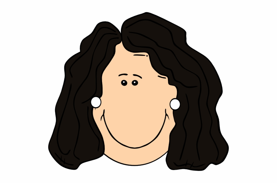 Dark Hair Lady With Earrings Svg Clip Arts 600 X 526 - Brown Hair ... image stock
