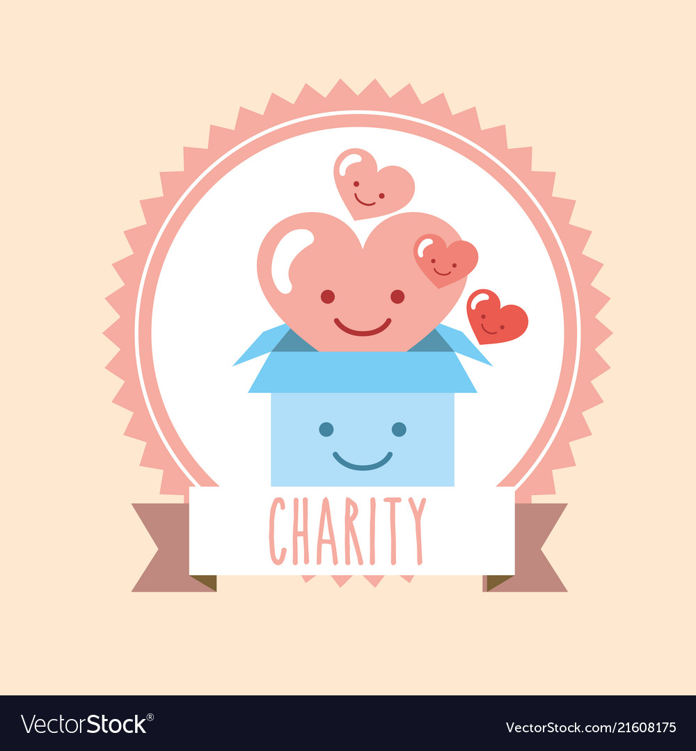 Cartoon clipart happy person with donation box clip transparent download Kawaii heart and cardboard box donate charity clip transparent download