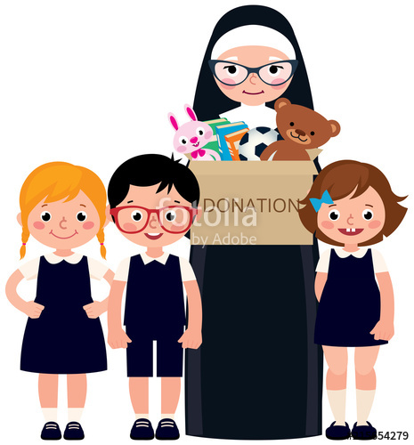 Cartoon clipart happy person with donation box vector transparent library Christian nun and children holding a box of donations with toys and ... vector transparent library