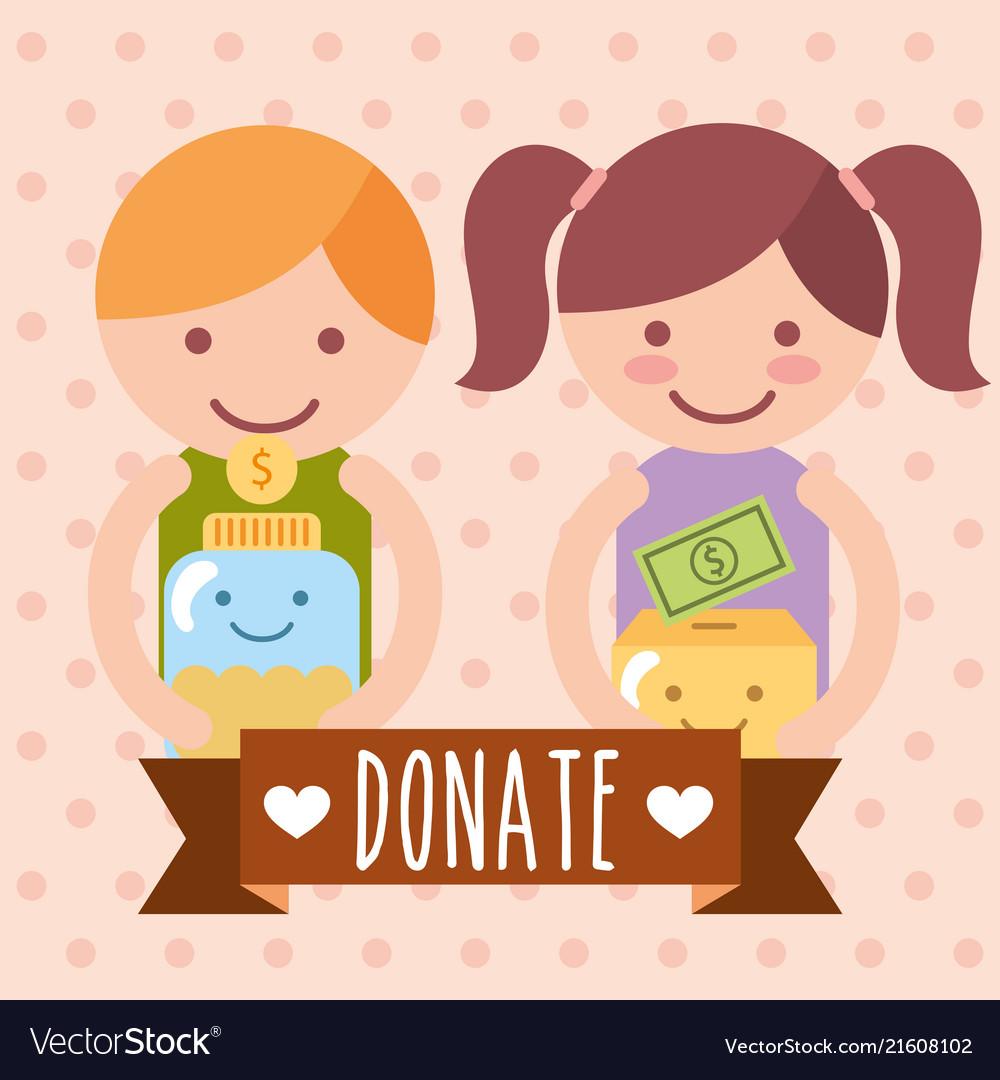 Cartoon clipart happy person with donation box clip free library Boy and girl with box and jar coins donate charity clip free library