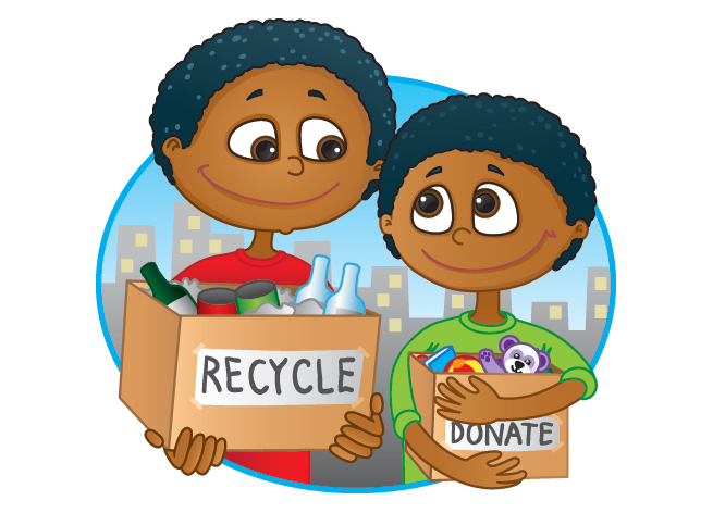 Cartoon clipart happy person with donation box jpg black and white Donation vs. Dumpster: How Your Unwanted Items Can Save the World ... jpg black and white
