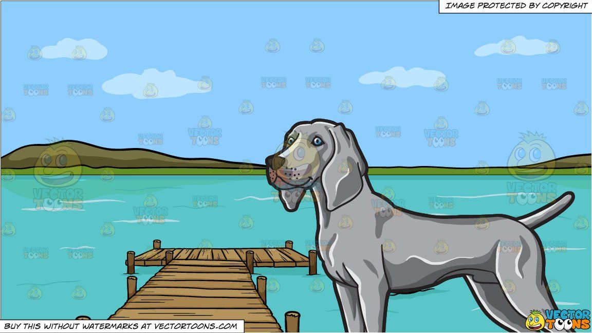Cartoon clipart lake image clipart #cartoon A Hound With Nice Form and A Long Wooden Dock On A ... image