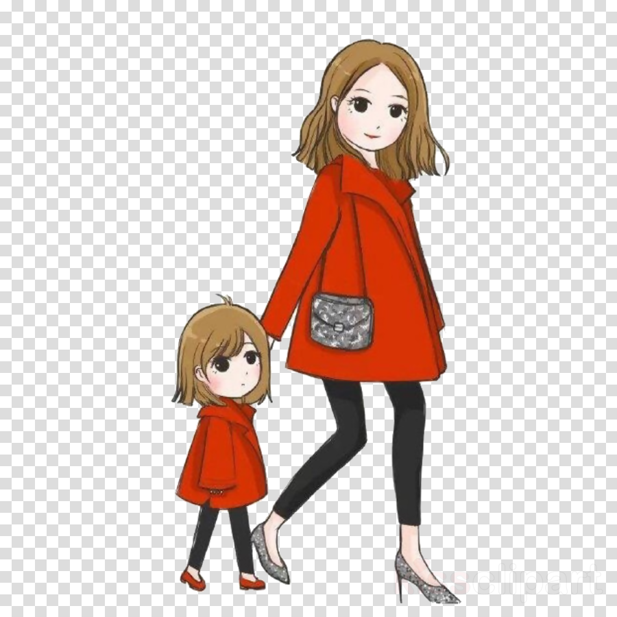 Cartoon clipart mother and daughter at halloween banner library stock Mother Cartoon clipart - Mother, Clothing, Hair, transparent clip art banner library stock