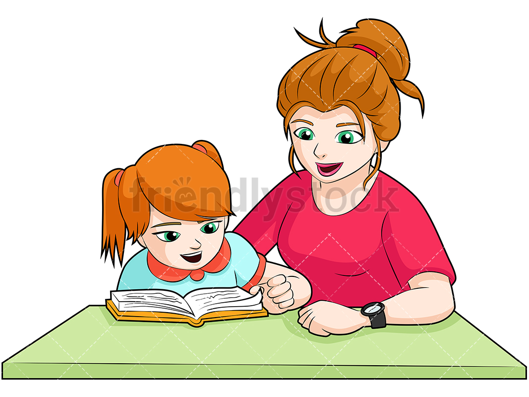 Cartoon clipart mother and daughter at halloween clip art freeuse Mom And Daughter Doing Homework Cartoon Vector Clipart - Frien - 800 ... clip art freeuse