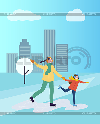 Cartoon clipart mother and daughter in snow