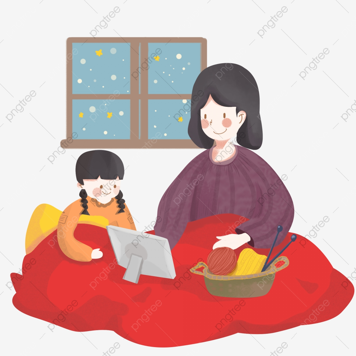 Winter Winter Mother And Daughter House, Warm, Red Blanket, Snow ... vector library download