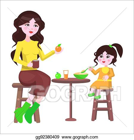 Cartoon clipart mother and daughter in snow graphic black and white library Vector Stock - Mother and her daughter sit at the table and eat ... graphic black and white library