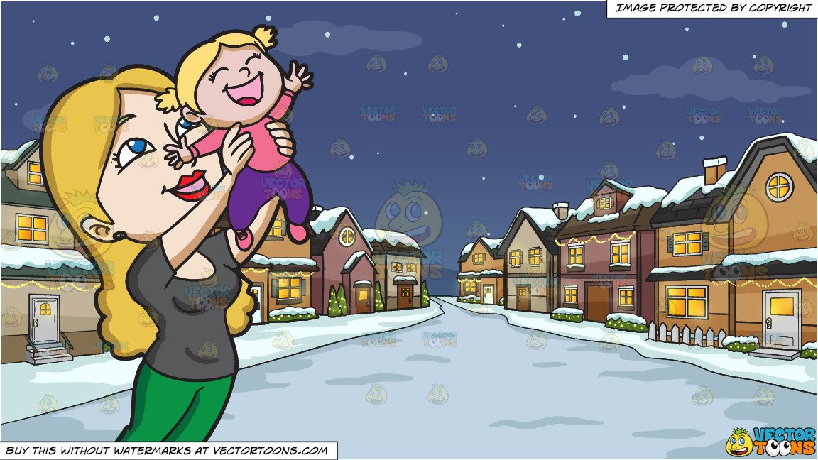 Cartoon clipart mother and daughter in snow image transparent download A Happy Mother Lifting Her Cheerful Daughter In The Air and Snowy Christmas  Night Background image transparent download