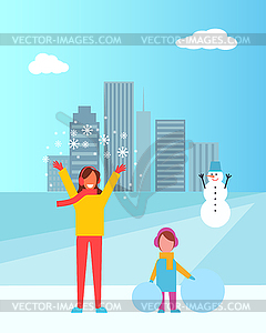 Cartoon clipart mother and daughter in snow clip art library library Mother and Daughter in City - vector clipart / vector image clip art library library