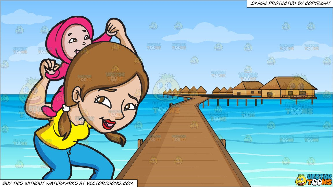 Cartoon clipart mother and daughter in snow image free stock A Mother Playing With Her Daughter and Resort In The South Pacific  Background image free stock