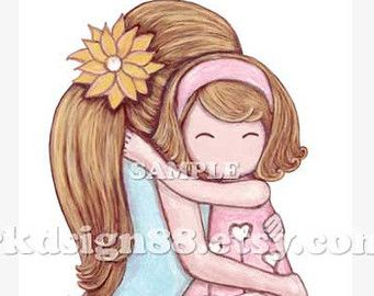 Cartoon clipart mother and daughter in snow graphic royalty free download Mom And Daughter Hugging Clipart (52+) | Art | Mother daughter art ... graphic royalty free download