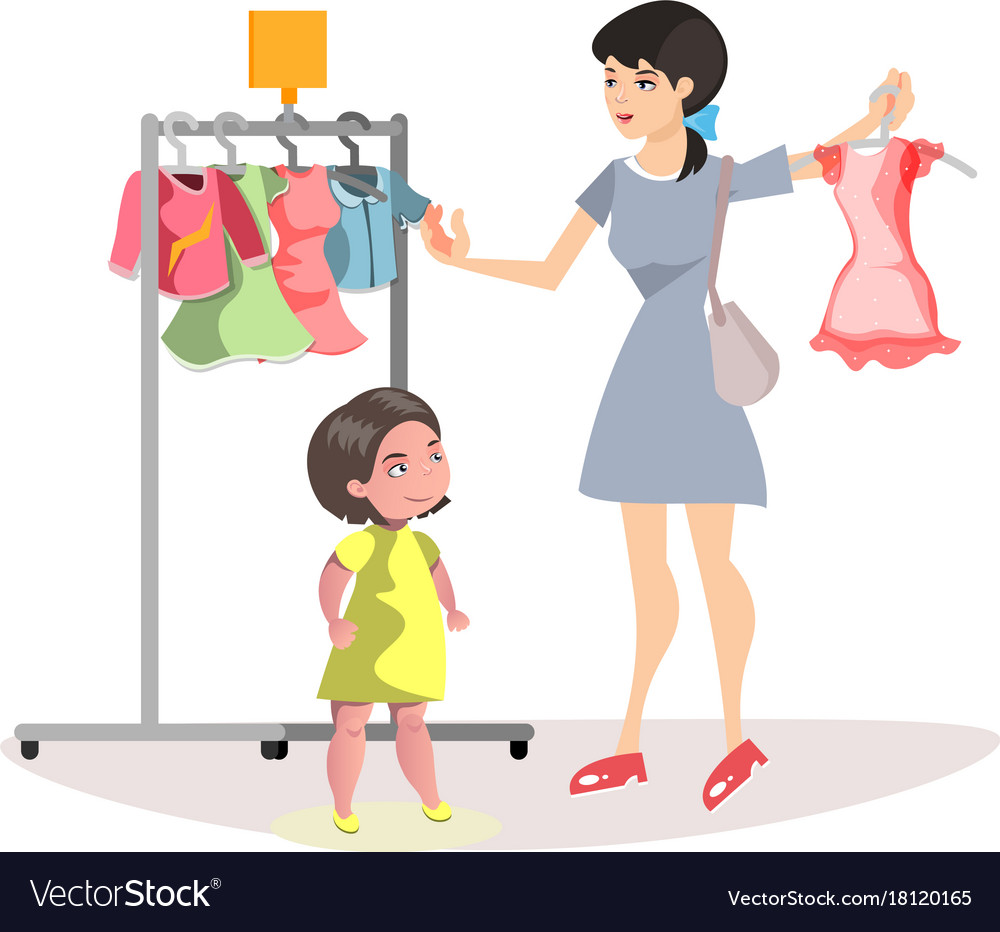 Cartoon clipart mother and daughter shoppi ng royalty free library Mommy and little daughter shopping together royalty free library