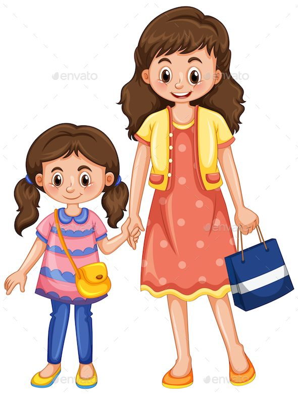 Cartoon clipart mother and daughter shoppi ng free library Mother and daughter holding hands illustration | Design Inspiration ... free library