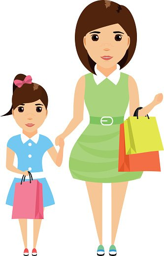Cartoon clipart mother and daughter shoppi ng svg black and white Mom and Daughter IN Summer Dress With Shopping Bags premium clipart ... svg black and white