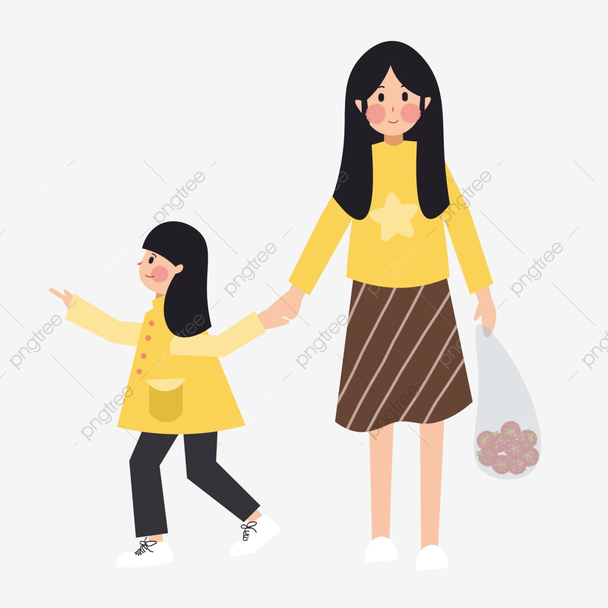 Cartoon Minimalist Mother And Daughter Shopping, Cartoon, Simple ... black and white download