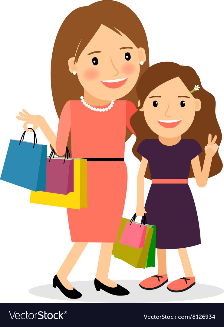 Cartoon clipart mother and daughter shoppi ng clip freeuse Mom and daughter shopping day clip freeuse