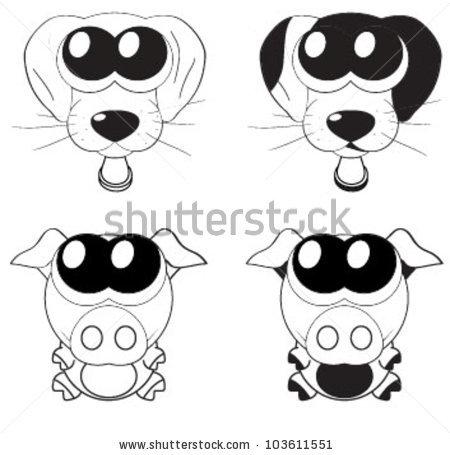 Cartoon clipart of big dog eyes. Cute puppy stock vector