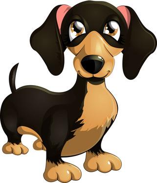 Cartoon clipart of big dog eyes clip Clip Art of Cartoon Dachshund Dog - Clip Art of Dogs clip