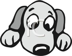 Puppy kid cute face. Cartoon clipart of big dog eyes