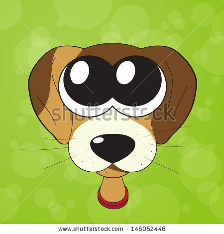 Cute puppy stock vector. Cartoon clipart of big dog eyes