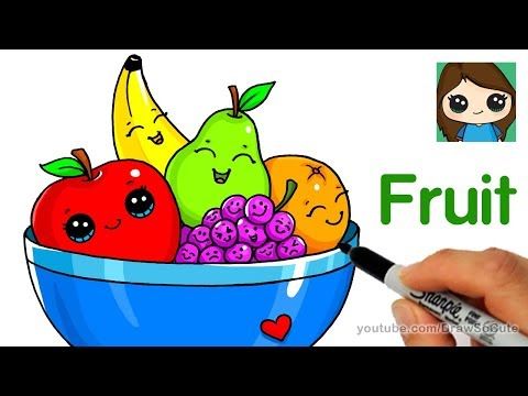 Cartoon clipart of mini pullers clip black and white How to Draw a Bowl of Fruit Easy - YouTube clip black and white