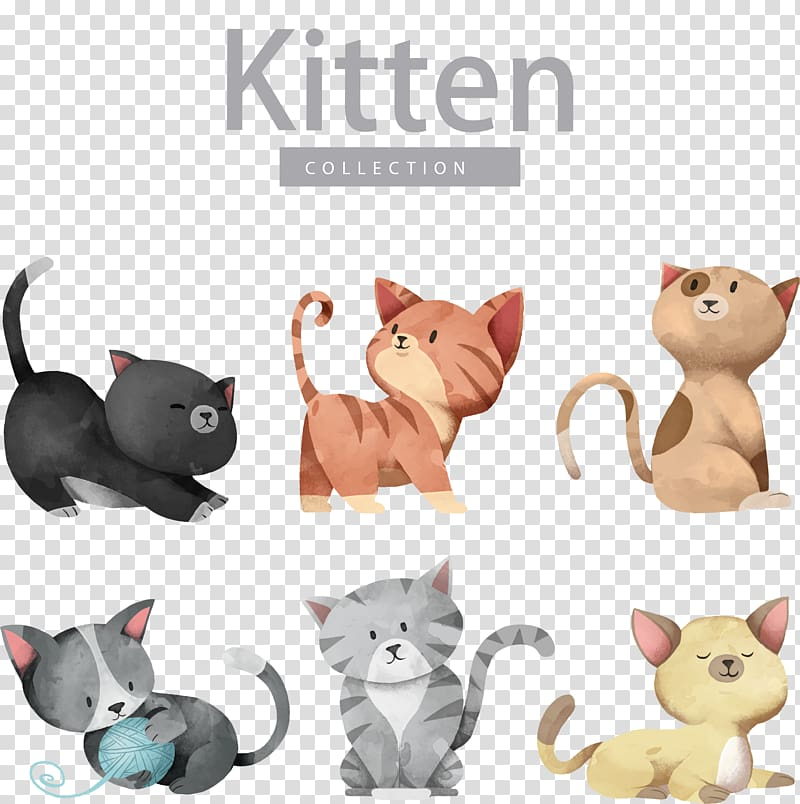 Cat Dog Kitten Illustration, Cartoon cute cat , kitten collection ... clipart black and white