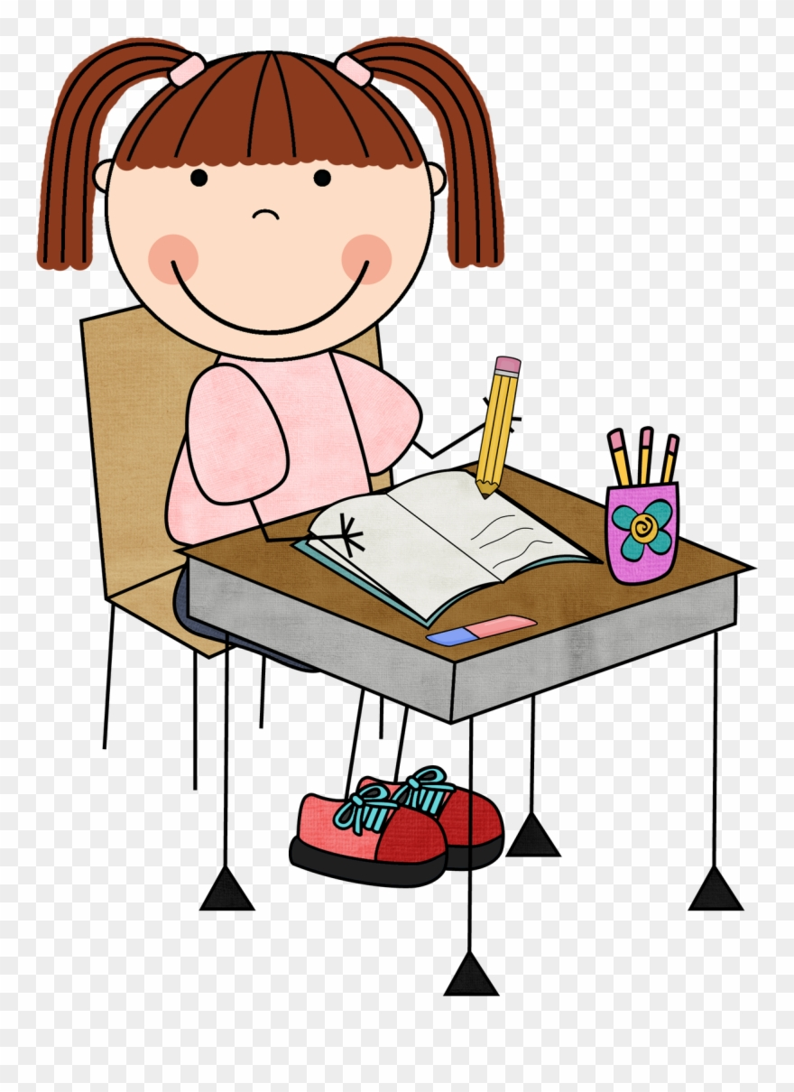 Cartoon clipart student job as a librarian jpg royalty free download Girl Student Working Clipart Clip Art Library - Student Writing Clip ... jpg royalty free download