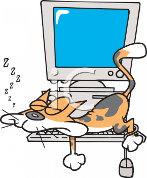 Cartoon computer keyboard clipart clipart library Cat Sleeping on a Computer Keyboard - Royalty Free Clip Art Image clipart library