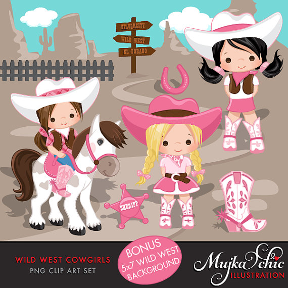Cartoon cowgirl hat lawn mower clipart free banner black and white library Cowgirl Clipart- Pink & Brown, Western Graphics, cowgirl characters ... banner black and white library
