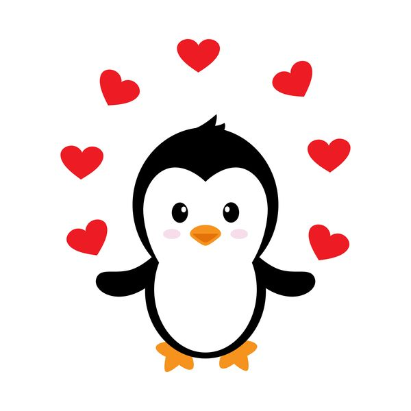 Cartoon cute clipart royalty free library Cartoon cute penguin with love vector illustration 06 | Penguins ... royalty free library
