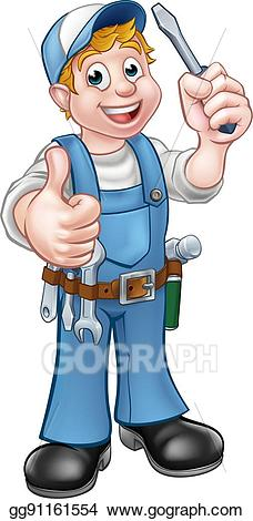 Cartoon electrician clipart png royalty free Vector Stock - Electrician handyman cartoon character. Clipart ... png royalty free
